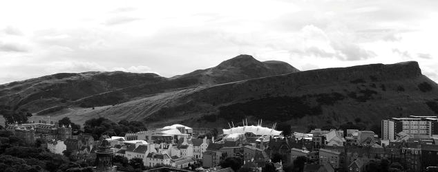 View of Holyrood Palace, the Scottish Parliament, Dynamic Earth and Arthur's Seat
