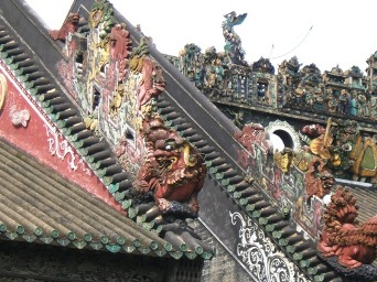 Roof carvings at the Chen ancestral home, Guangzhou