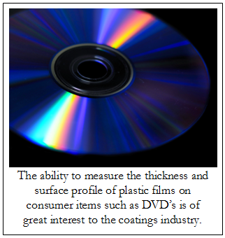A DVD - Measuring the thickness and surface profile of thin films on consumer items like DVD's is big business...